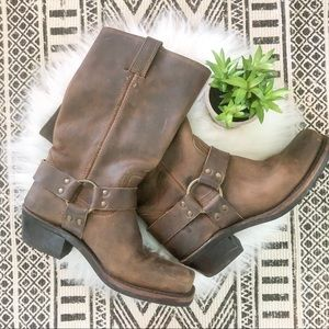 Frye Brown Leather Harness Moro Boots